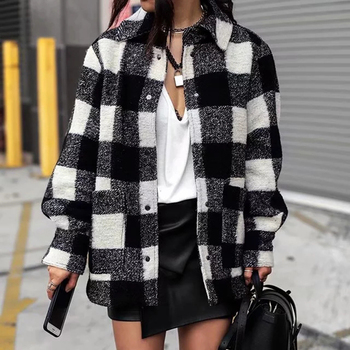 Vintage women elegant plaid jackets 2019 winter fashion ladies patchwork coats female thick woolen jacket girls oversize outfit women jackets winter coats long sleeve fashion lapel zipper patchwork jacket outerwear female short elegant ladies clothing tops