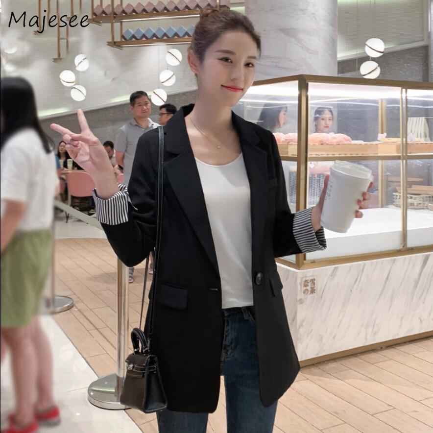 Blazers Women Solid Three Quarter Sleeve Single Button Plus Size 3XL Womens Outwear Korean Style Office Lady Fashion All-match