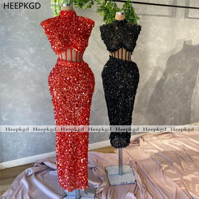 Sparkly Red 2021 Prom Dresses Illusion Sheath High Neck Sequins Black Girls Graduation Wedding Party Prom Gowns Plus Size 1