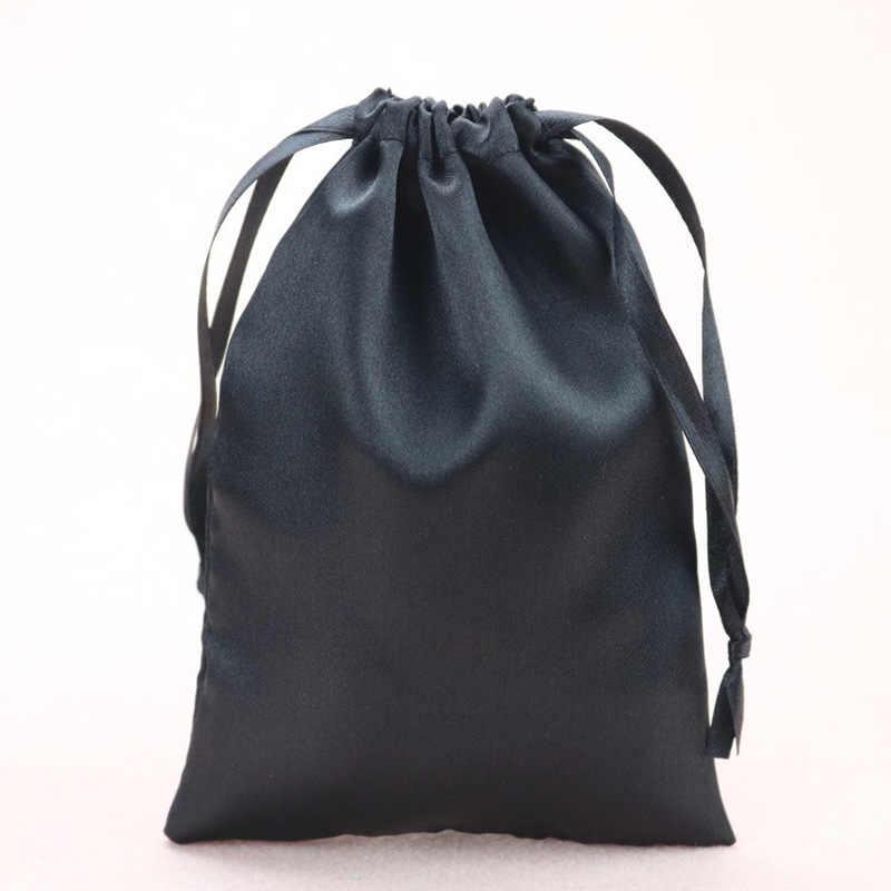 Bolsa de pelo virgen satinado de seda con logotipo personalizado joyería/MAQUILLAJE/boda/recuerdos para fiesta regalo bolsas de embalaje