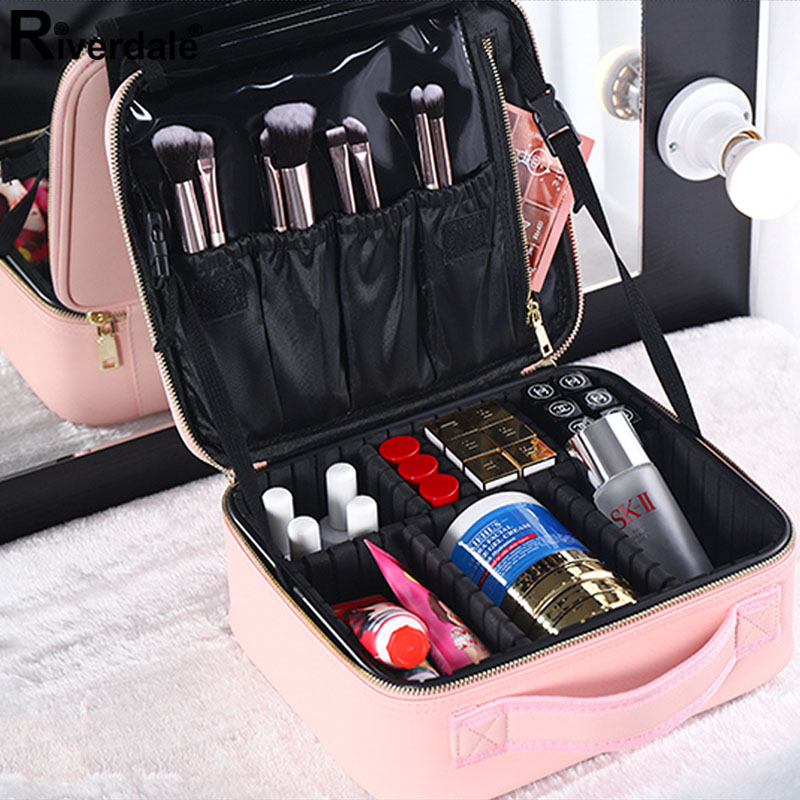 Women Brand Makeup Case Professional High Quality Full Cosmetic Bag Organizer Leather Beauty Manicure Travel Make Up Suitcase