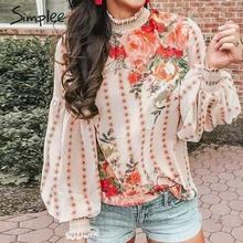Simplee Ethnic style floral print women blouse Pleated turtle neck lantern sleeve chiffon blouse Elegant chic ladies tops shirts