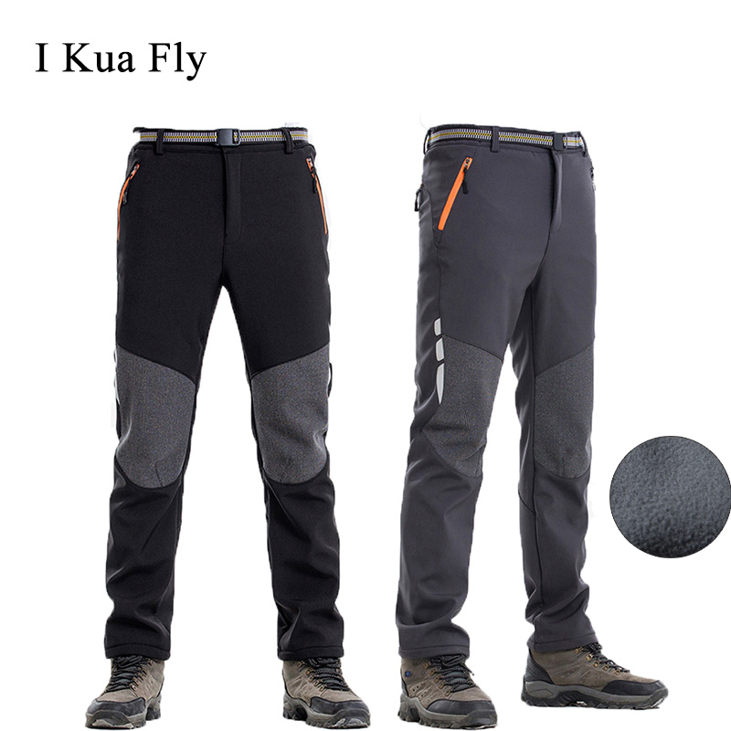 Winter Ski Pants Outdoor Men Hiking Waterproof Camping Trekking Fleece Skiing Pants Climbing Softshell Trouserl Fishing Women 4