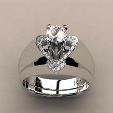 Charm Female Shine Crystal White Wedding Ring Set Luxury 925 Silver Heart Engagement Vintage Bridal Rings For Women