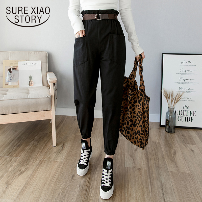 2019 Spring Summer Solid Fashion High Waist Harem Pant Pencil Trousers Women Pants Casual Cargo Pants Streetwear Female 7173 50