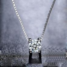 BOEYCJR 925 เงิน 0.5ct/1ct/2ct F สี Moissanite VVS หมั้นแต่งงาน Elegant จี้สร้อยคอสำหรับผู้หญิงของขวัญ
