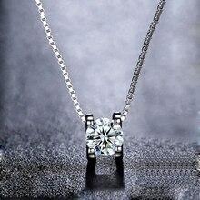 BOEYCJR collier pendentif de mariage pour femmes en argent 925, 0,5 ct/1ct/2ct, couleur F, mariage, cadeau danniversaire, Moissanite