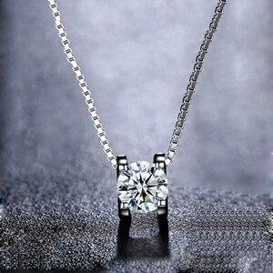 Image 1 - Женский кулон на помолвку BOEYCJR, элегантное ожерелье из серебра 925 пробы 0.5ct/1ct/2ct F, Подарок на годовщину