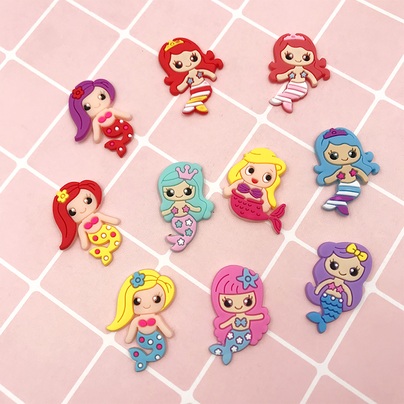 10pcs Kawaii Cartoon Mermaid Silicone Flatback Cabochon For Hair Bows Center PVC Rubber Crafts DIY Phone Decoration Accessories