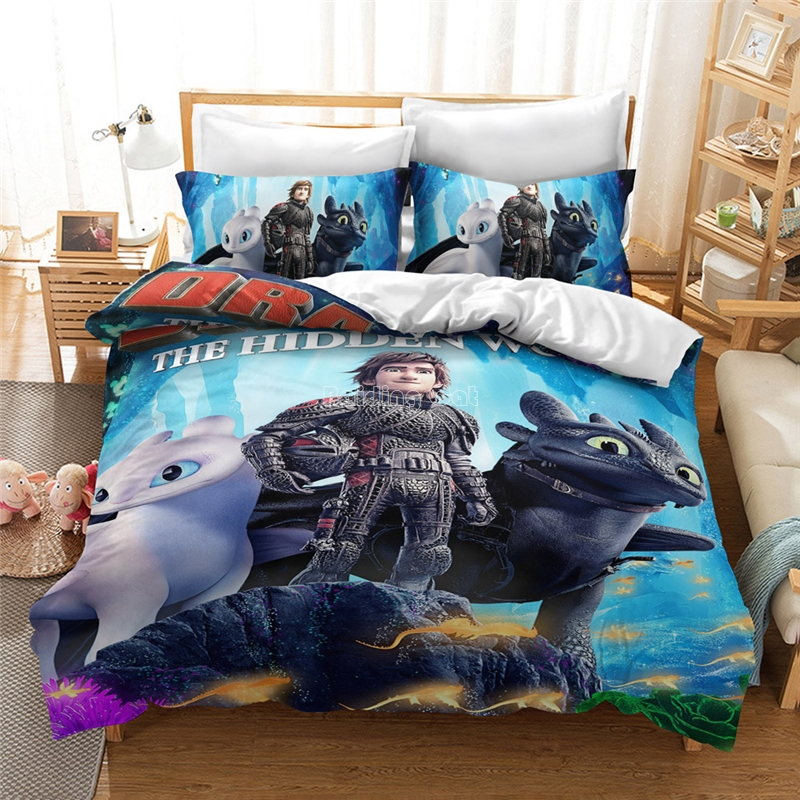 How To Train Your Dragon 3D Luxury Bedding Set Kids Cartoon Pattern Bed Linen Duvet Cover Set Pillowcase Twin Queen King Size