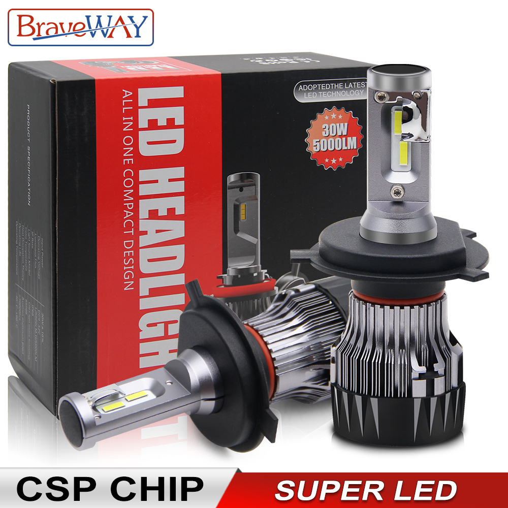 BraveWay CSP Chip H1 H4 H7 H8 H9 H11 lámparas LED para coche 12V 24V 9005 HB3 9006 bombillas Led HB4 HIR2 H4 para motocicleta automotriz
