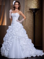 Prom Gown Elegant Two in One Lace Wedding Dress Sweetheart Organza Tiered Detachable Skirt Vestido De Noiva