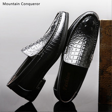 Mountain Conqueror Classic Men Casual Shoes Loafers Quality Split Leather Flats Crocodile Pattern Driver