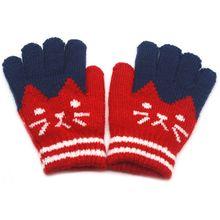 Детские зимние теплые варежки из искусственной шерсти; лыжные перчатки контрастного цвета в полоску с рисунком кота; 449F