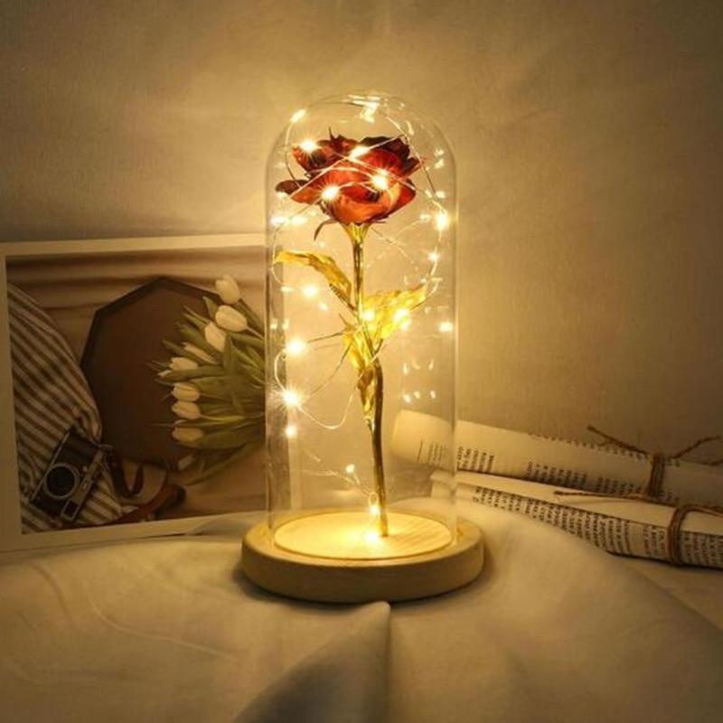 Beauty LED Rose Lamp Bottle Desk Light Flower Night Lamp Romantic Valentine's Day Birthday Gift Decoration Beast Battery Powered