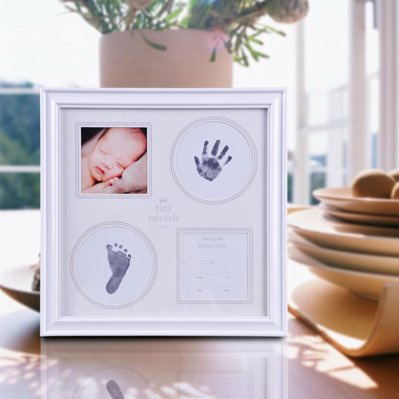 Baby Hand Foot Print Mud Photo Frame Newborn Souvenir Hundred Days New Parents Creative Gifts in Hand Footprint Makers from Mother Kids