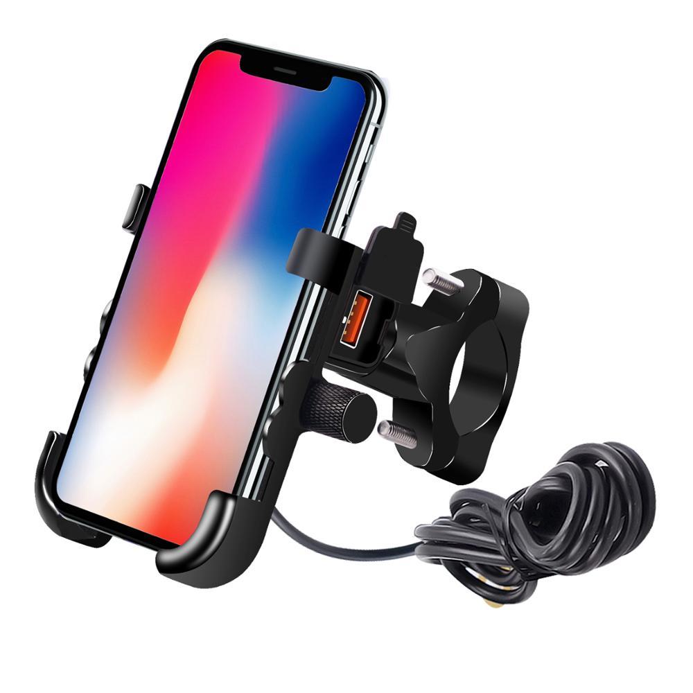 Держатель для телефона мотоцикла регулируемый с 12-24V USB зарядка QC 3,0 алюминиевый сплав для руля/заднего вида