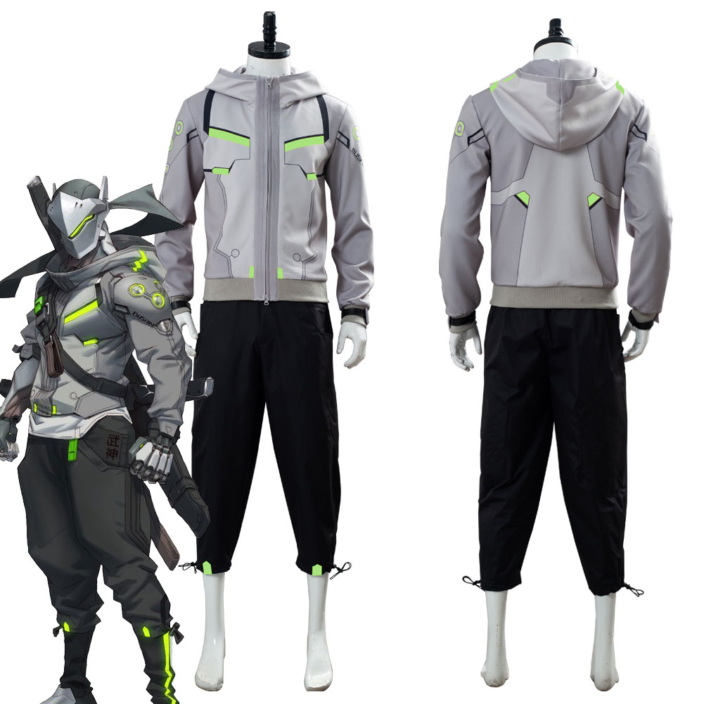 OW 2 Shimada Genji Cosplay Costume Hoodie +Trousers Halloween Carniva Daily Wear Version