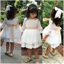 New Spring Girls Bridesmaid White Dress Baby Toddler Kid Knee-Length Fashion Party Lace Long Sleeve Bow Wedding Princess Dresses