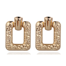 2019 Tin Alloy New Rushed Brincos Earings Oorbellen Exaggerated Earrings Square High-grade Fashion Temperament Brinco