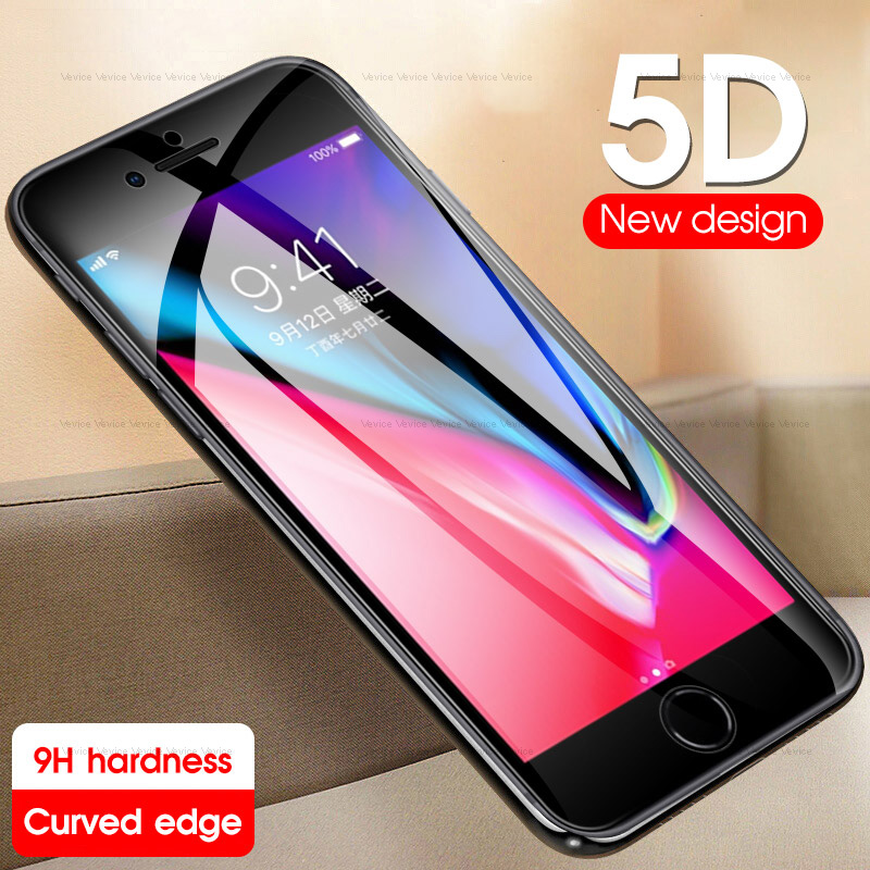 5D Full Cover Screen Protector For IPhone 6 6s 7 8 Plus Shockproof Tempered Glass For IPhone 8 7 6 S 6s 9H Protective Glass Film