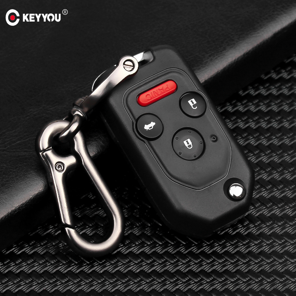 KEYYOU Remote 2/3/4 Button Flip Folding Car Key Shell Case For <font><b>Honda</b></font> <font><b>Accord</b></font> Civic CRV Pilot 2007 2008 <font><b>2009</b></font> 2010 2011 2012 2013 image