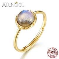 ALLNOEL 925 Sterling Silber Ring Für Frauen 100% Natürliche Labradorit Edelstein 1,3 ct Echt Gold Hochzeit Edlen Schmuck