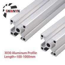 2 шт. 3030 алюминиевый профиль Европейский стандарт 100 500 1000 1200 мм анодированный экструзионный 3030 линейный рельс для деталей 3D принтера CNC