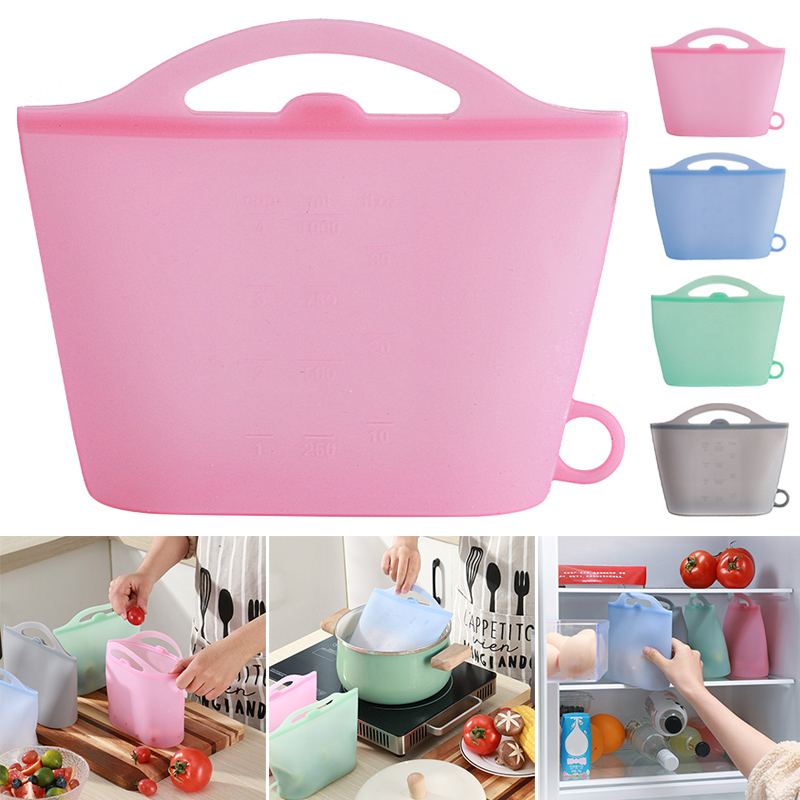 Silicone Food Storage Bag Reusable Ziplock Bags For Food Storage Airtight Seal Microwave Safe SP99