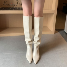 Winter Shoes Krazing-Pot High-Boots L85 Pleated Knee Genuine-Leather on Solid Nightclub