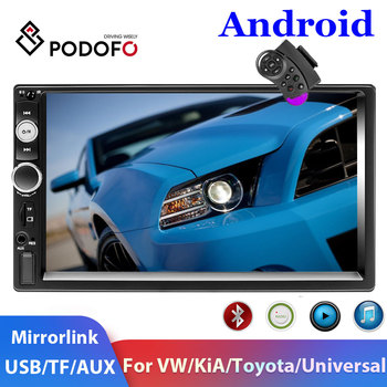 Podofo 2 Din Android Car Radio GPS USB 2Din Car Multimedia Player car autoradio for Volkswagen Nissan Hyundai Kia Toyota Skoda image