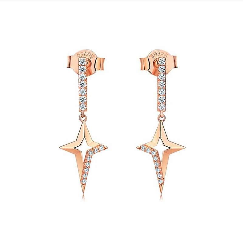 Boucles d'oreilles en or Rose 18K massif femmes zircon étoile boucles d'oreilles cadeau de dame