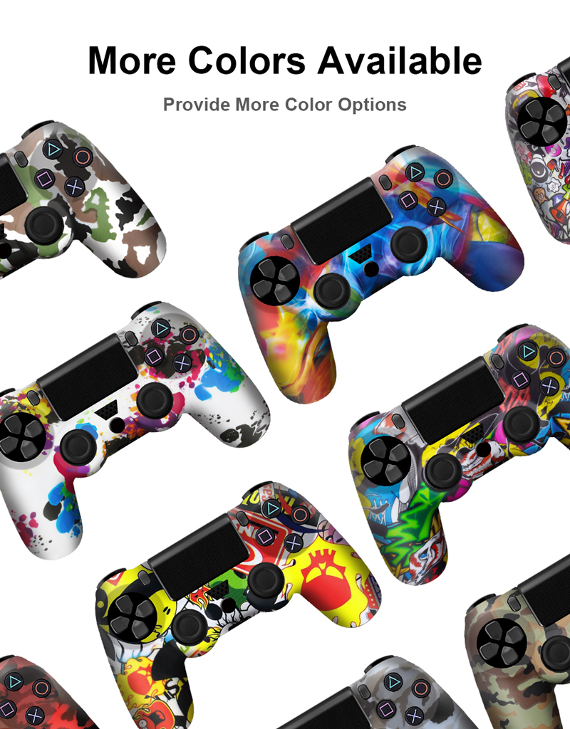 Купить с кэшбэком 18 Colors Soft Silicone Rubber Skin Case For PS4 Gamepad Protective Cover For Sony Play Station4 Pro Slim Controller Camo Style