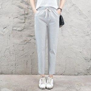 Image 5 - Pantalon en lin pour Femme, sarouel, taille moyenne élastique, mode, noir, Pantalon crayon, de bureau, collection 2019