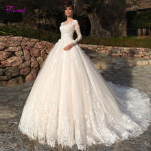 Bride-Gown Wedding-Dresses A-Line Long-Sleeve Glamorous Luxury Beaded-Flowers Court-Train