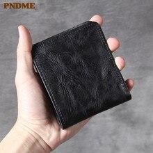 PNDME simple vintage luxury genuine leather black men's women's wallet handmade cowhide ultra-thin short card holder coin purse