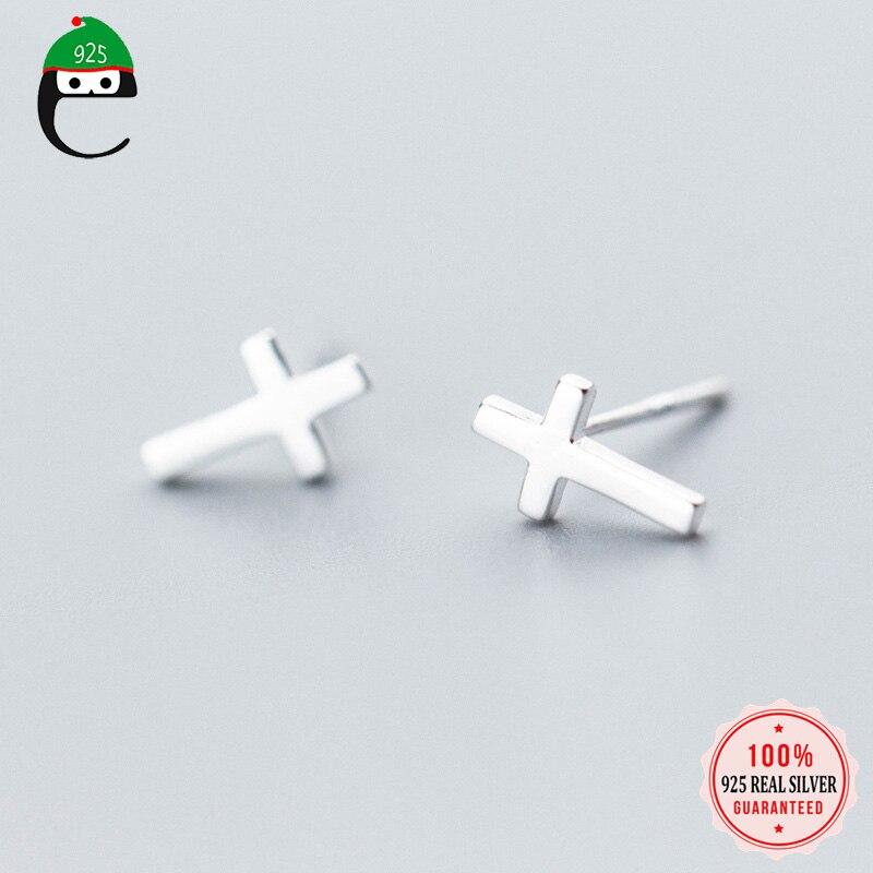 Elfoplatasi 2019 s925 cruz parafuso prisioneiro brinco para mulheres senhora meninas crianças 100% 925 real prata esterlina jóias por atacado xy784