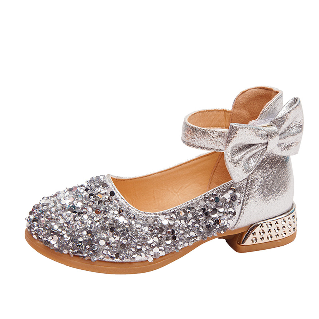 Toddler Infant Baby Girls Flower Sequins Single Princess Mary Jane Flat Shoes