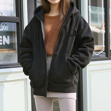 Hooded Fleece Spring Autumn Women Casual Long Sleeve Loose Zip Pockets Solid Sweatshirt Coat M0823