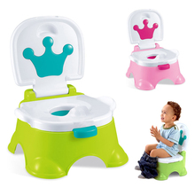 Potty Toilet-Seat Childrens Footstool Learning Infants Boys Kids Cartoon Cute with Crown