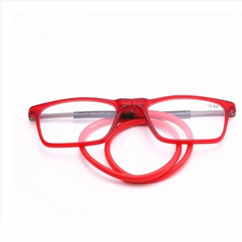 Hanging Neck Magnet Reading Glasses Folding Presbyopic  Soft Unisex Silicone Magnetic Vintage Eyeglasses 1.0 1.5 2.0 2.5 3.0 4.0