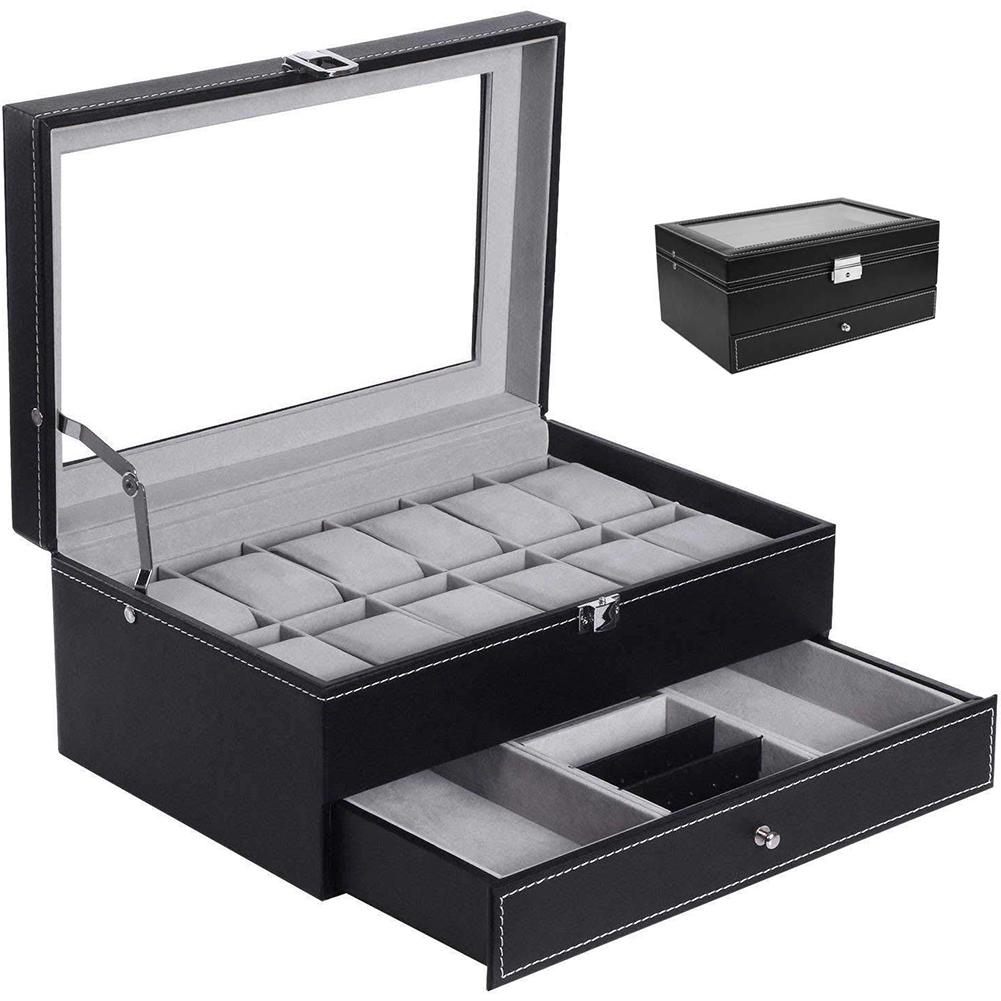 New Fashion Double Layer 12 Detachable Slot Watch Organizer Jewelry Storage Box Collection Case Faux Leather Watch Box With Glas