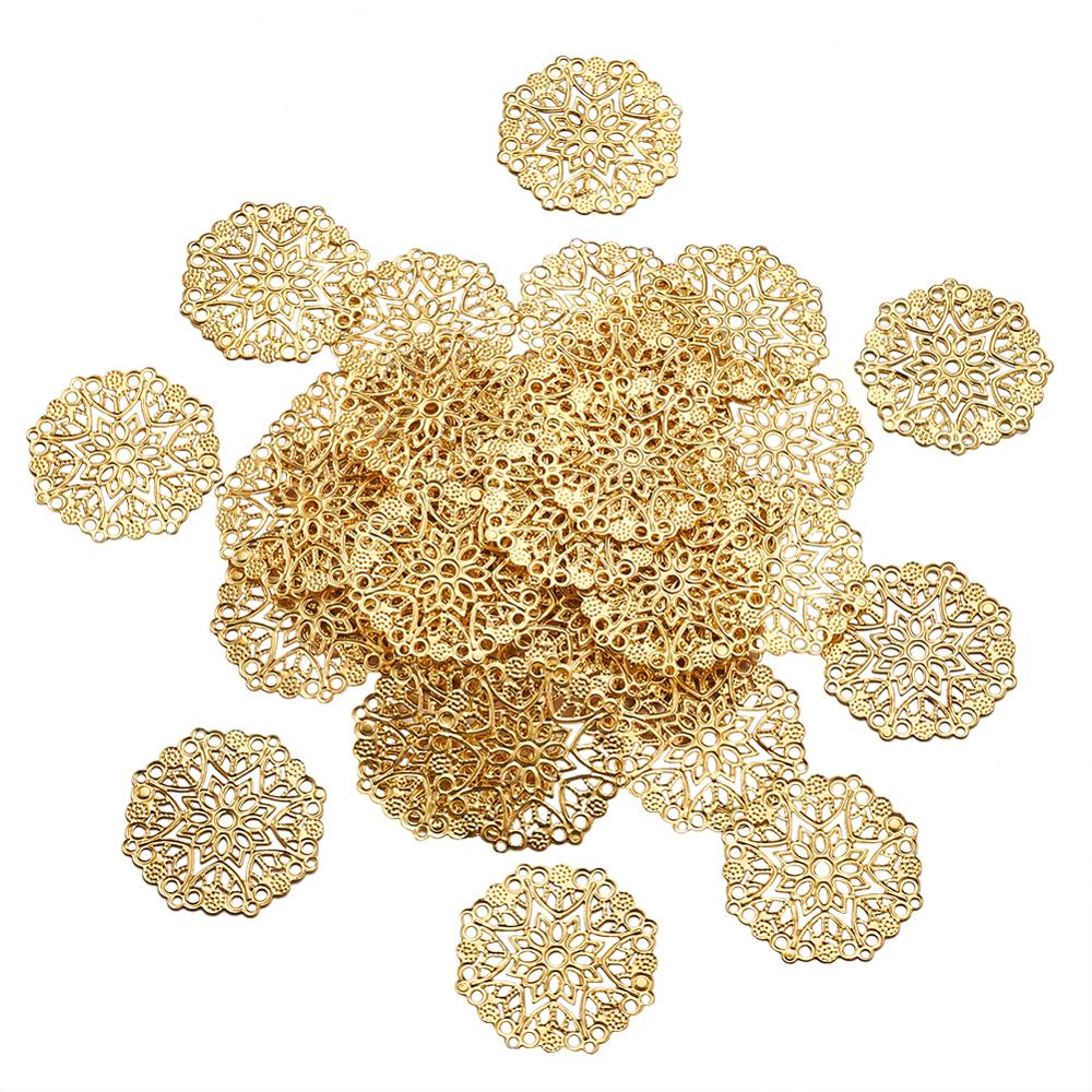 100pcs Iron Filigree Joiners Links Round Flower Wraps Connectors Filigree Pendant For DIY Jewelry Making 35.5x0.7mm, Hole: 1.4mm