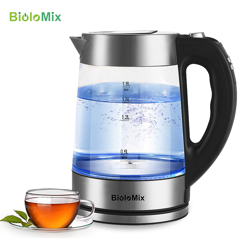 BioloMix 1.8L Blue LED Light Digital Glass Kettle 2200W Tea Coffee Kettle Pot with Temperature Control & Keep Warm Function
