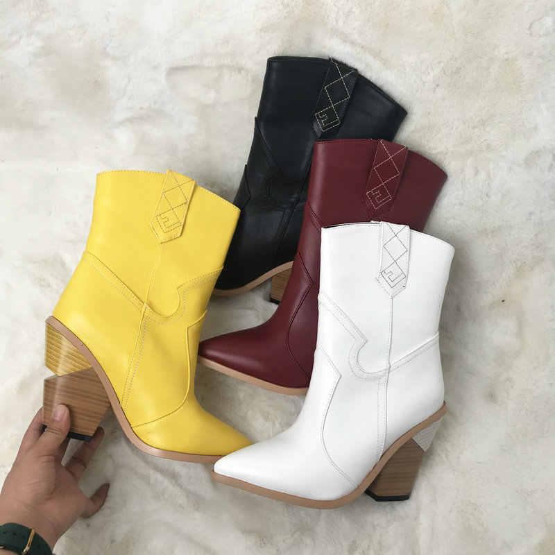 Tasarımcı kovboy çizmeleri kadınlar için kama topuklu yarım çizmeler batı 2019 kışlık botlar beyaz siyah kırmızı kahverengi sarı çizmeler büyük boyutu