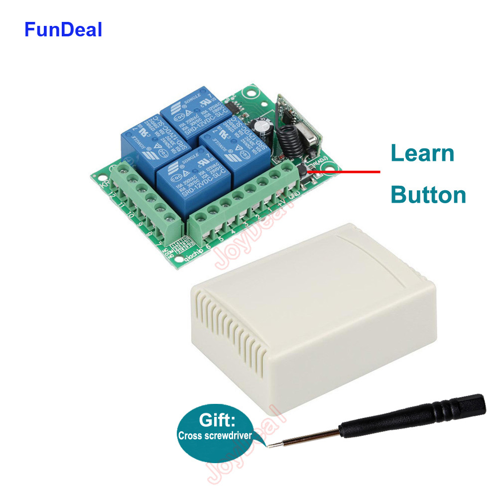 433Mhz Universal Wireless RF Remote Control Switch DC <font><b>12V</b></font> 4 Channel RF <font><b>Relay</b></font> Receiver <font><b>Module</b></font> For Smart Home Led Light Lamp Bulb image
