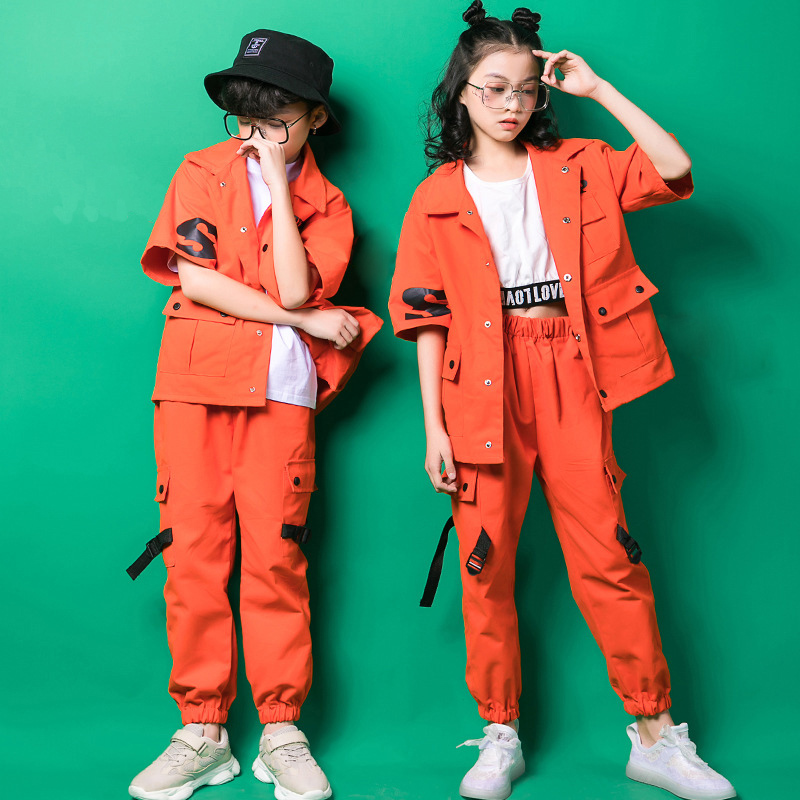 Kids Cargo Pants Short Sleeve Jacket Coat Hip Hop Clothing Clothes Jazz Dance Costume For Girls Boys Ballroom Dancing Streetwear
