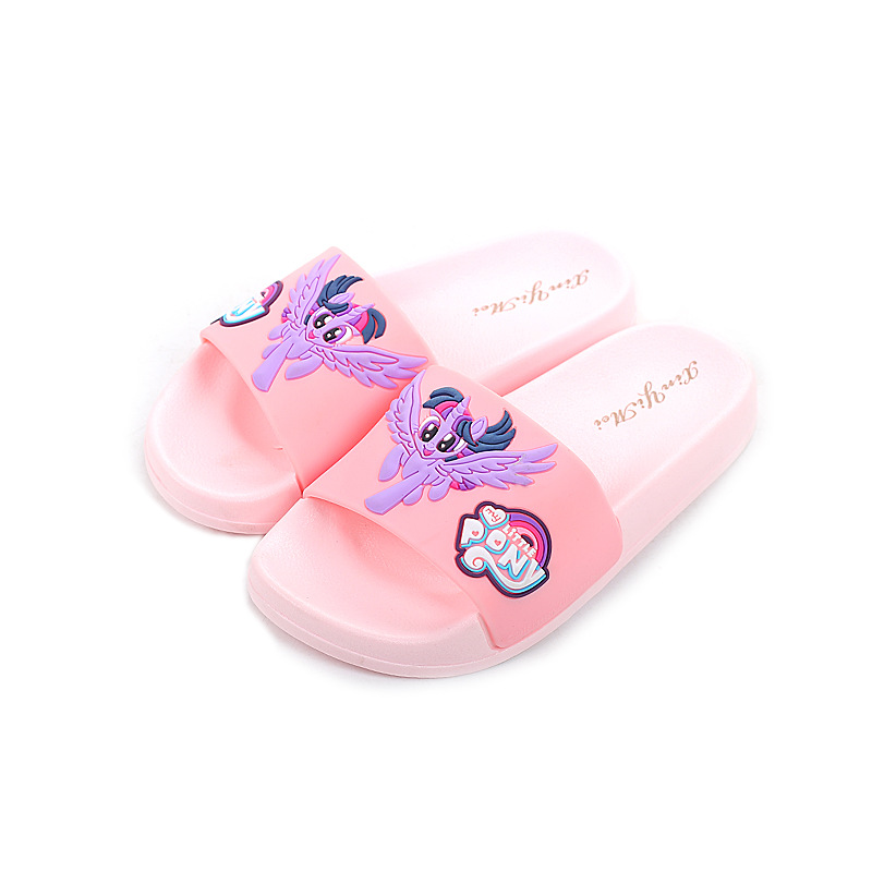 Unicorn Slippers For Boy Girl Rainbow Shoes 2019 Summer Toddler Animal Kids Indoor Baby Slippers PVC Cartoon Pony Kids Slippers