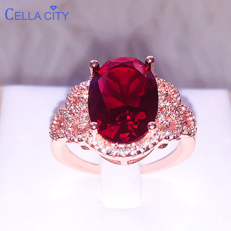 Cellacity Silver 925 Ring With Big Oval Ruby Gemstone Silver Jewelry  Women Engagement Wholesale Girl Size  6-10