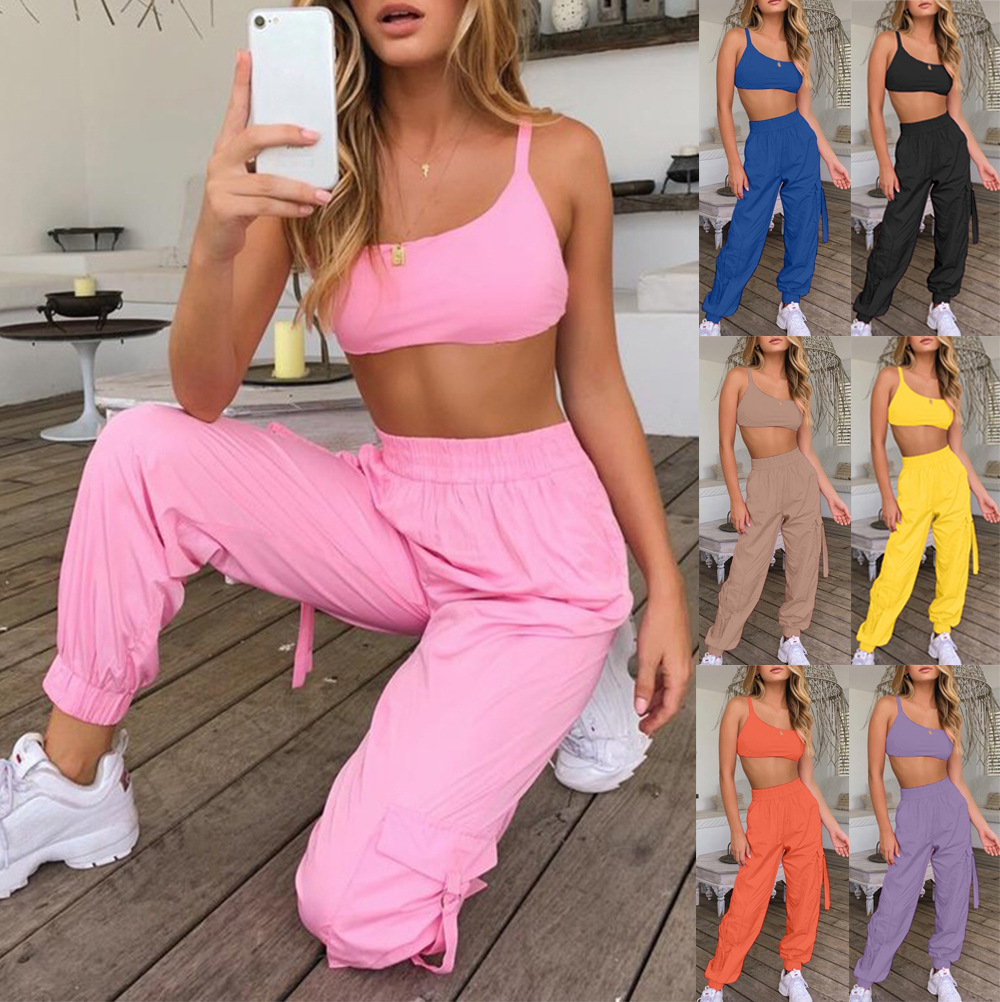 Summer Large Size S-3XL Women Sports Two Piece Sets Solid Color Lace Tops + Casual Elastic Waist Pocket Lantern Trousers Pants